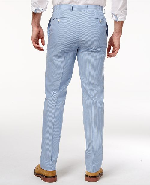 606132e9 Lauren Ralph Lauren Men's Classic-Fit Blue Seersucker Cotton ...