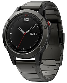 Garmin Men's fenix® 5 Sapphire Black/Gray Convertible Strap Smart Watch 47mm