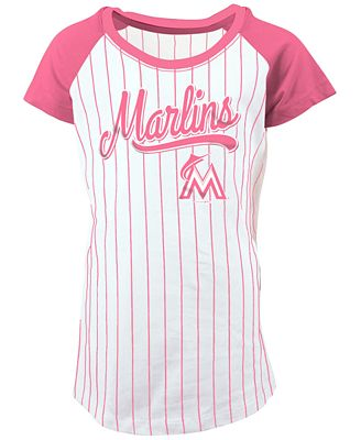 5th & Ocean Miami Marlins Pinstripe T-Shirt, Girls (4-16)