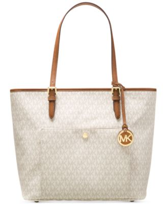 Image of MICHAEL Michael Kors Signature Jet Set Item Large Top Zip Snap Pocket Tote