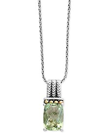 EFFY® Green Quartz Pendant Necklace (6-1/6 ct. t.w.) in Sterling Silver and 18k Gold