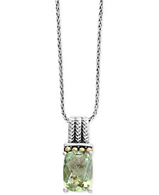 EFFY® Green Amethyst Pendant Necklace (6-1/6 ct. t.w.) in Sterling Silver and 18k Gold