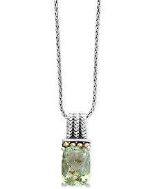 EFFY® Prasiolite Pendant Necklace (6-1/6 ct. t.w.) in Sterling Silver and 18k Gold