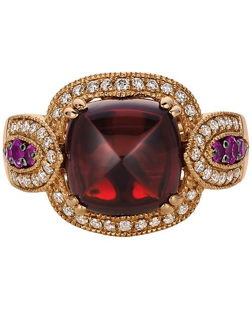 Le Vian Multi-Gemstone (5-5/8 ct. t.w.) and Diamond (1/3 ct. t.w.) Ring in 14k Rose Gold