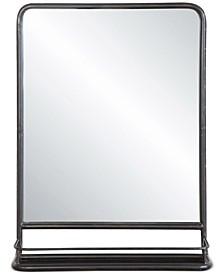 Metal-Framed Mirror with Shelf