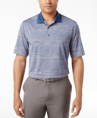 Image of Greg Norman For Tasso Elba Men's Heathered Striped Performance Sun Protection Golf Polo