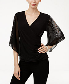 MSK Embellished Chiffon Sleeve Top