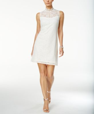 ronni nicole lace mockneck sheath dress
