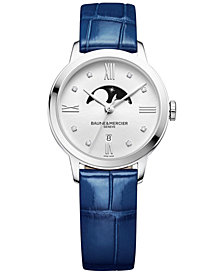 Baume & Mercier Women's Swiss Classima Diamond Accent Blue Alligator Leather Strap Watch 31mm M0A10329