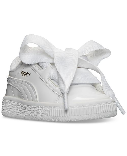Puma Toddler Girls' Basket Heart Patent Casual Sneakers from