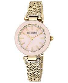 Anne Klein Women's Gold-Tone Stainless Steel Mesh Bracelet Watch 30mm AK-1906PMGB