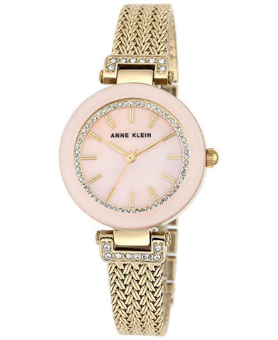 Anne Klein Women's Gold-Tone Stainless Steel Mesh Bracelet Watch 30mm AK-1906PMGB
