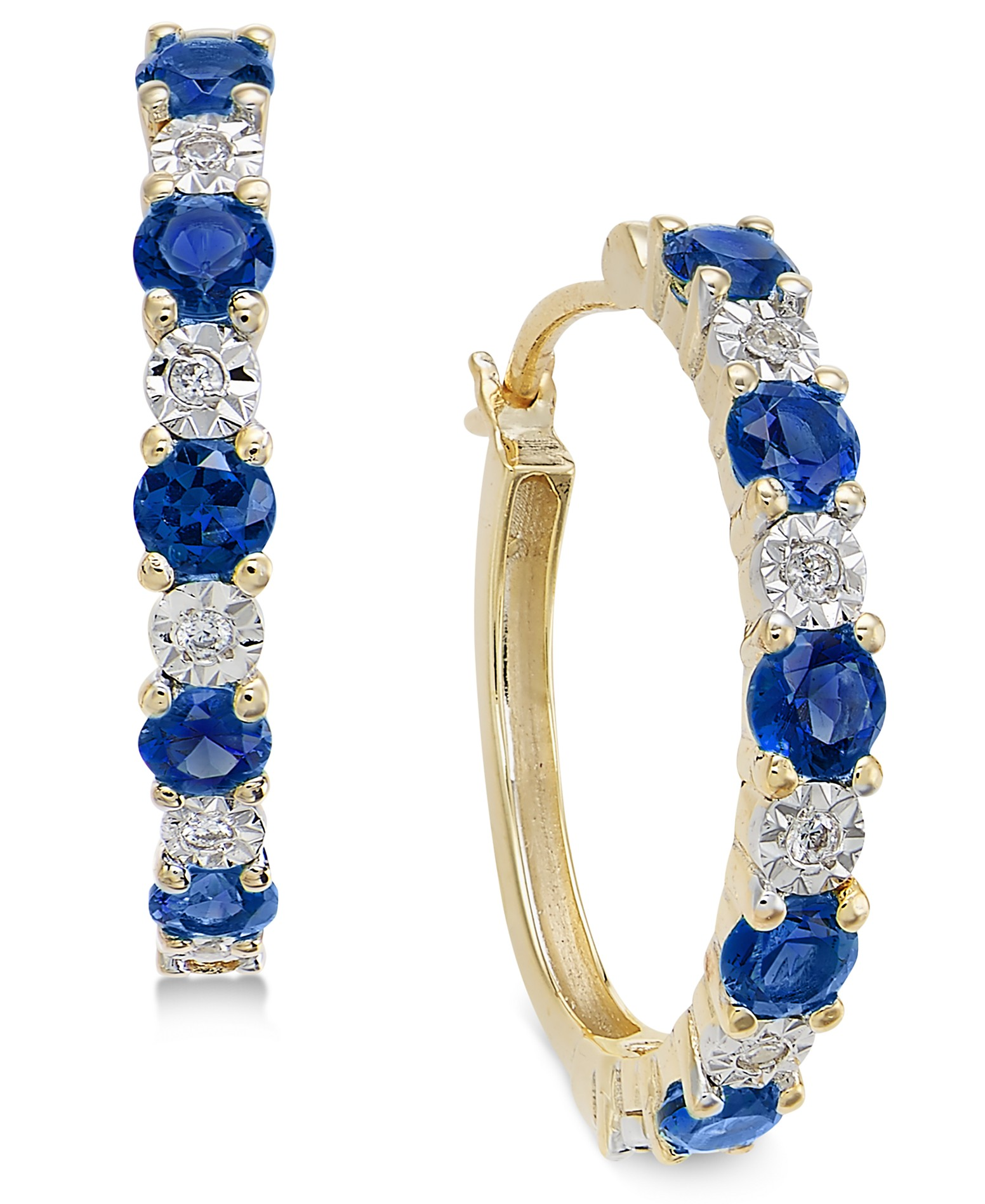 968fd75fb Sapphire (3/4 ct. t.w.) and Diamond Accent Hoop Earrings in 14k Gold (Also  Emerald and Certified Ruby)