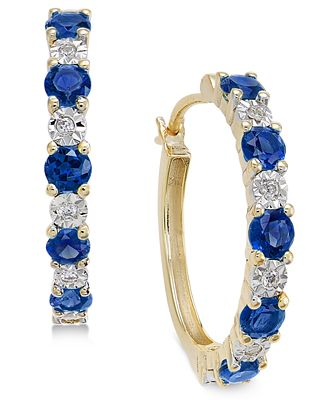Macy S Sapphire 3 4 Ct T W And Diamond Accent Hoop Earrings In