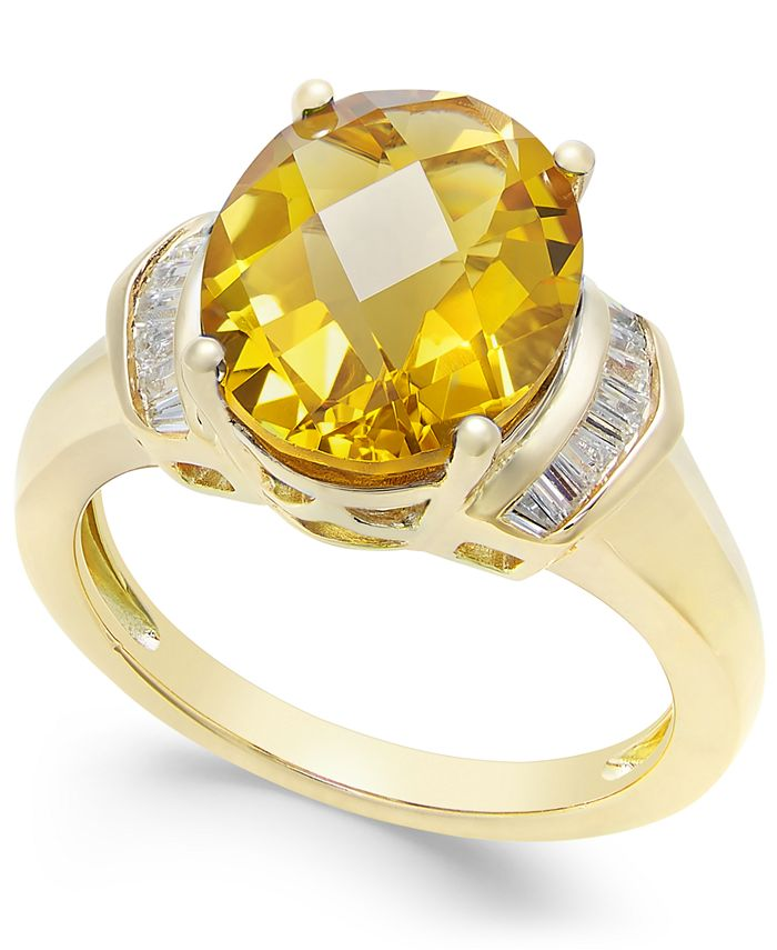 Macy's - Citrine (4-1/4 ct. t.w.) and White Topaz (1/4 ct. t.w.) in 14k Gold-Plated Sterling Silver