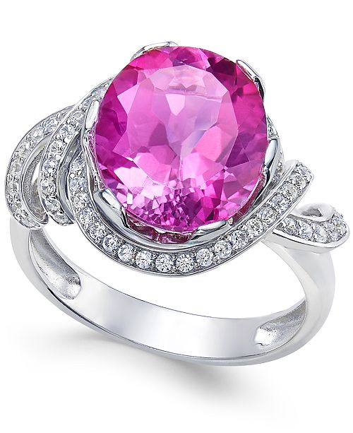 Macy's Pink Topaz (4-9/10 ct. t.w.) and White Topaz (1/3 ct. t.w.) Ring in Sterling Silver