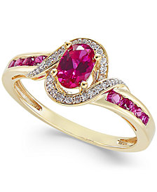Sapphire (5/8 ct. t.w.) & Diamond (1/10 ct. t.w.) Ring in 14k Gold (Also in Emerald & Ruby)