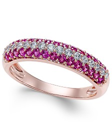 Certified Ruby (1/2 ct. t.w.) & Diamond (1/4 ct. t.w.) Ring in 14k Rose Gold (Also Available In Sapphire and Emerald)