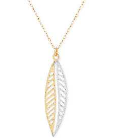 Two-Tone Leaf Drop Pendant Necklace in 10k Gold