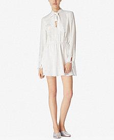 Avec Les Filles Tie-Neck Printed Crinkle Dress
