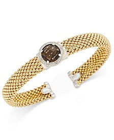 Smoky Quartz (3-3/8 ct. t.w.) and Diamond (1/5 ct. t.w.) Popcorn Mesh Bangle Bracelet in 14k Gold-Plated Sterling Silver