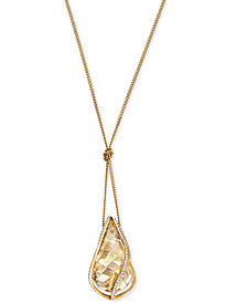 Swarovski Gold-Tone Knotted Crystal Energy Pendant Necklace