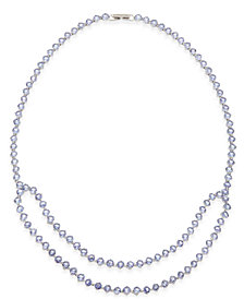 Tanzanite (30 ct. t.w.) and White Sapphire (1/10 ct. t.w.) Double Row Collar Necklace in Sterling Silver, Created for Macy's