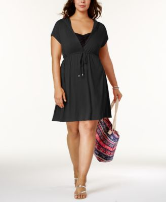 Dotti Plus Size Hooded Drawstring Cover-Up