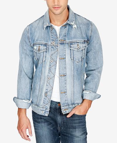 Lucky Brand Men's Lakewood Stretch Destroyed Denim Jacket - Coats ...