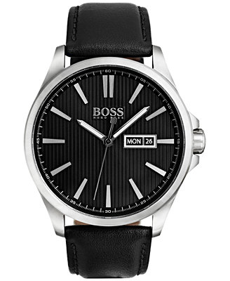 Hugo Boss Men's The James Black Leather Strap Watch 42mm 1513464 by Boss