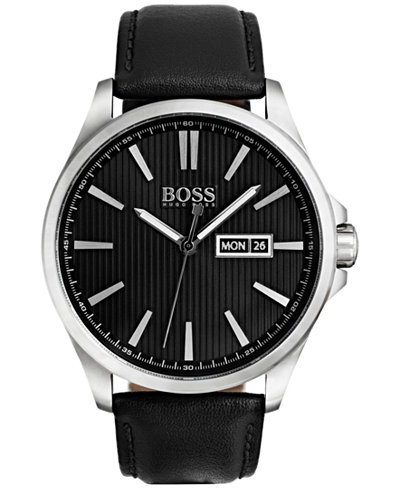 BOSS Hugo Boss Men's The James Black Leather Strap Watch 42mm 1513464