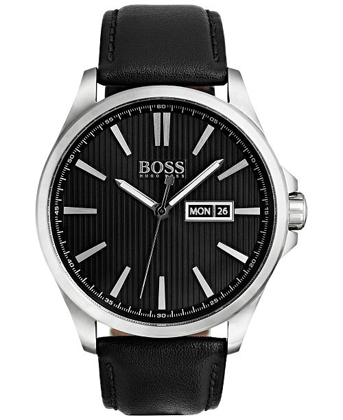 BOSS Hugo Boss Men's The James Black Leather Strap Watch 42mm 1513464