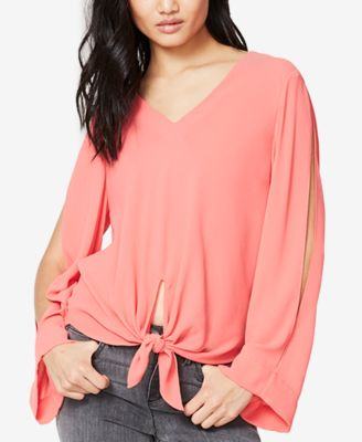 Image of RACHEL Rachel Roy Tie-Front Cold-Shoulder Blouse, Only at Macy's