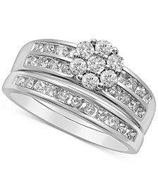 Diamond Flower Cluster Bridal Set (7/8 ct. t.w.) in 14k White Gold