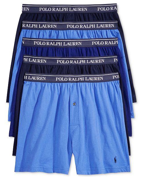 499d2385e Polo Ralph Lauren Men s 5 Pack Cotton Knit Boxers   Reviews ...