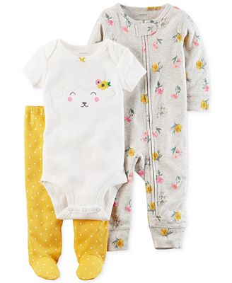 Carter's 3-Pc. Cotton Lamb Bodysuit, Coverall & Footed Pants Set, Baby Girls