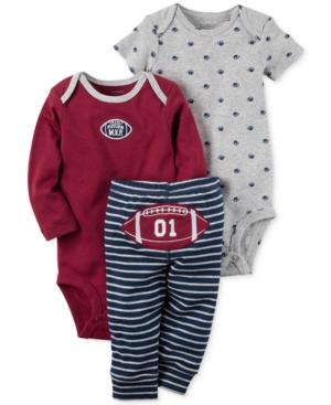 Carters 3Pc Cotton Football Bodysuits  Pants Set Baby Boys (024 months)