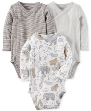 Carters 3Pk Cotton SideSnap Bodysuits Baby Boys  Girls (024 months)