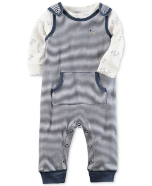 Carters 2Pc Cotton DogPrint TShirt  Striped Coverall Set Baby Boys (024 months)