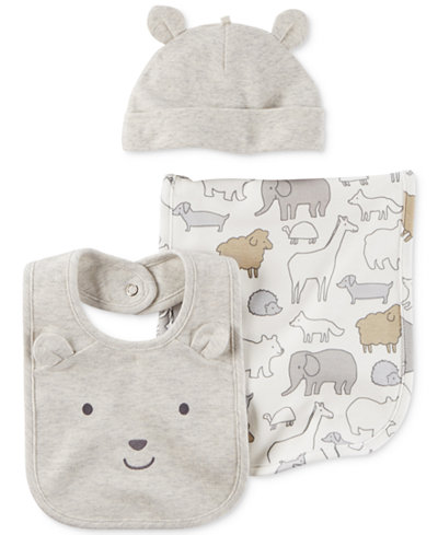 Carter's 3-Pc. Hat, Bib, & Burp Cloth Set, Baby Boys & Girls