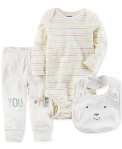 Carter's 3-Pc. Bear Bib, Bodysuit & Pants Set, Baby Boys & Girls
