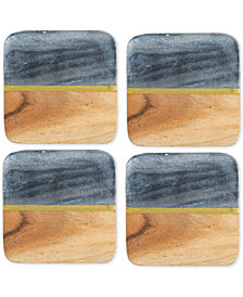 Thirstystone Acacia Wood and Gray Marble Coasters, Set of 4