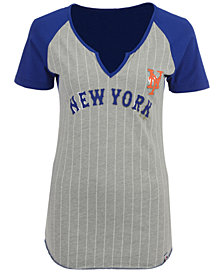 Majestic Women's New York Mets From The Stretch Pinstripe T-Shirt
