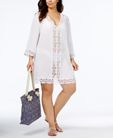 La Blanca Plus Size Crochet-Trim Cover-Up Dress