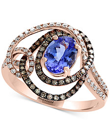 Tanzanite Royalé by EFFY® Tanzanite (1-1/8 ct. t.w.) and Diamond (5/8 ct. t.w.) Ring in 14k Rose Gold