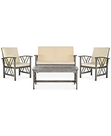 Kerten Outdoor 4-Pc. Seating Set (1 Loveseat, 2 Chairs & 1 Coffee Table), Quick Ship