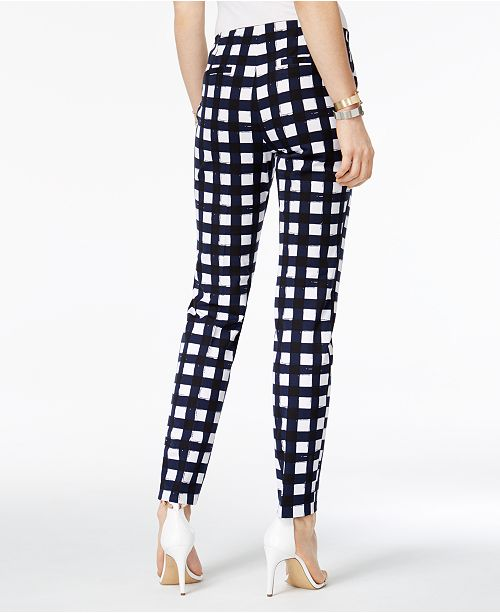 Pants Leg Navy Alfani Mini Created Straight White Plaid for Macy's Printed tEtwOqTP