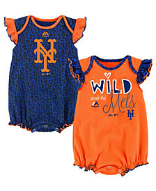 Majestic New York Mets Team Sparkle Creeper 2-Piece Set, Baby Girls (0-9 months)