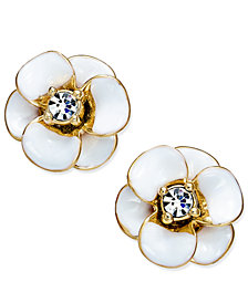 kate spade new york 14k Gold-Plated Crystal Enamel Flower Stud Earrings