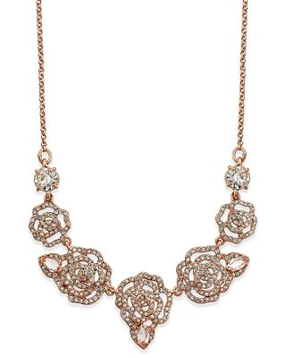 kate spade new york Rose Gold-Tone Pavé Rose Necklace